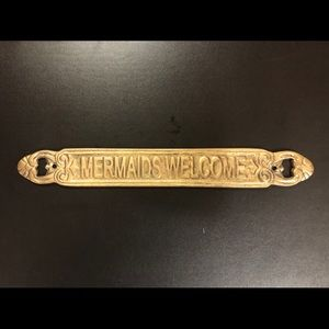 Vintage Brass 'Mermaids Only' Sign